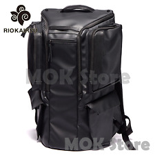 Riokairyu HEXA All Mens Backpack Leather Cool Large Book pack Camera bag - Black