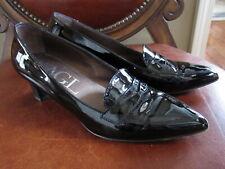 AGL Attilio Giusti Leombruni Black Patent Leather Penny Loafer Pumps Shoes 39