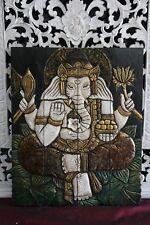 Balinese Hand Carved Wood Hinged Ganesh Wall Panel - Bali Buddha Wall Panel 60cm