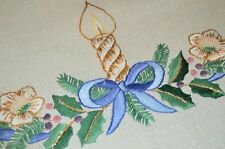 A CHRISTMAS OF BLUE BOWS & HOLIDAY MAGNOLIAS! GERMAN HAND EMB SPARKLE TABLECLOTH