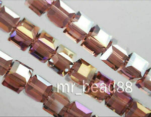 Wholesale Charms Glass Crystal Faceted Cube Square Loose Spacer Bead 6/8/10mm#