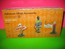 Dept 56 Halloween Village Haunted Signs (Set Of 3) Nib #4025400 New In Box