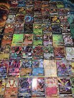 Pokemon Card Lot 140 TCG Cards V GX EX MEGA FULL ART RAINBOW +HOLOS See Descript