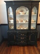 Vintage Bassett Cherry China Cabinet French Provincial Chalk Paint Black and Whi