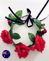 Women Red Rose flower wedding Bride Party Hair band Headband xmas Prop Garland