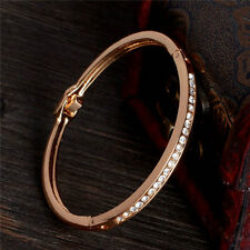 Gold-plated Stainless Steel Lady Cuff Bangle Jewelry Crystal Bracelet Fashion
