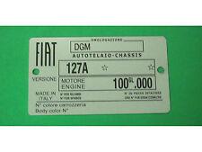 TARGHETTA IDENTIFICATIVA DATI FIAT 127 1^ SERIE - TELAIO 127A MOTORE 100GL.000