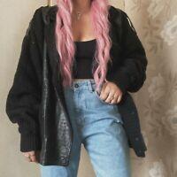 Vintage 80s Black Wool Blend Alpaca Leather Jacket Coat Cardigan Medium Large