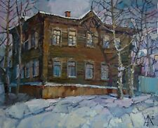 an old house Winter cityscape by AVDEEV Original RUSSIAN oil Painting