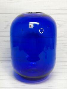 New Old Stock Mouth Blown Blenko 7 12 Footed Cobalt Vase Elegant Cobalt Blue with crystal foot
