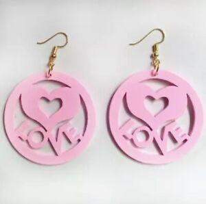 Baby Pink Love Heart Wood Carving Eco Laser Cut Drop Dangle Earrings
