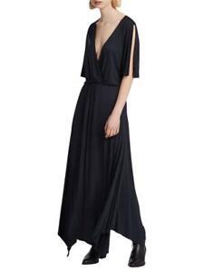 All Saints Amira Maxi Dress in Antracite/Black Size M BNWT £98