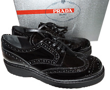 Prada Black Patent Leather Lace Up Wing Tip Oxford Platform Flat Shoe  37  7
