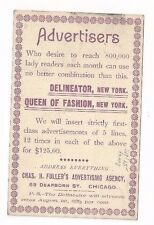 1894 UX11 Postal Card,Advertising Agency, Delineator & Ladies Queen of Fashion