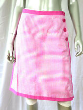 SUTTON STUDIO SZ 8 NWOT Cotton Thin Linin Pink Trim Small Checkers Buttons Skirt