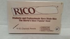 RICO Eb CLARINET REEDS STRENGTH 3.0  ( SEALED PACK OF 10 )  FREE SHIPPING UK
