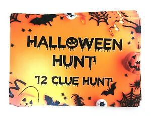 Halloween Party Games Ideas Scavenger Hunt Clues Cards Kids Trick or Treat Bags