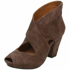 Earthies CAISTIANA Size 7 Dark Suede Leather Open Toe Bootie Shoe