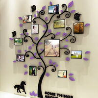 3D Acrylic Wall Photo Frame Purple Tree Wall Sticker DIY For Home Office Decor