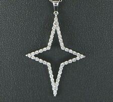 $1,800 18K White Gold Roberto Coin Tiny Treasures Star Diamond Pendant Necklace