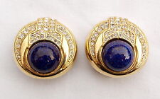 Vintage Ciner Gold Tone Blue Cabochon Pave Crystals Clip on Earrings