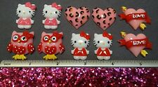 Hello Kitty Valentine Heart Resin Flatback Cabochon Lot DIY Bow decoden Kit USA