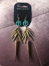 Gold And Blue Gold Spiked Dangle Earings