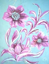 """Floral Purple White Silver PaperOriginal Acrylic Painting Artist Signed 22""""x30"""""""