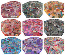 Patchwork Quilt King Bed cover Handmade India Bedspread Boho Indian Embroidery W