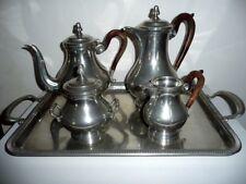 service ; thé ; café en étain d'Anjou ; 5 pièces ; jamais servi