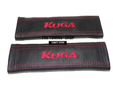 "2x Seat Belt Covers Pads Black Leather ""KUGA "" Red Embroidery for Ford"