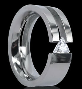 High Polished Unique Solitaire Titanium Tension Ring with Triangle CZ, size 7