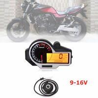 9-16V Motorcycle LCD N 1-6 Digital Speedometer Odometer Tachometer Universal
