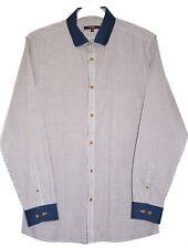 "Men's M Check Shirt 16"" Collar Button Cuff Blue Collar Cuff Easy Care Fabric"