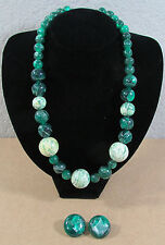 "Vtg Karla Jordan Chunky Green Graduated Beads Jewelry 21"" Necklace w/Earrings"