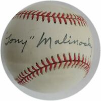 Tony Malinosky Hand Signed Autographed MLB Baseball Brooklyn LA Dodgers Blue