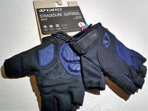 New Men's Giro Stradedure Supergel SG Cycling Bike Gloves LARGE (9) Blue/Black