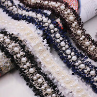 Vintage 3cm Beaded Embroidered Lace Ribbon Handmade DIY Sewing Supplies Crafts--