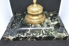 Antique Victorian Serpentine Green Marble Granite&Bronze Desk Inkwell&Pen stands