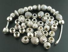 50PCs Silver Tone Acrylic Spacers Beads Fit Charm Bracelet
