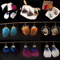 Fashion Women Feather Owl Tassel Hook Earrings Long Dangle Wedding Bride Jewelry