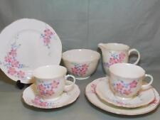 Vintage Foley Bone China Tea for 2 Trios Milk & Sugar Pink Floral Patt. V1603