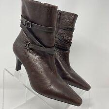 Antonio Melani Alligator Print Brown Leather Zip Heel Ankle Boots Size 6.5 M