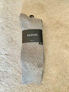 Alfani Men's 4-Pk. Textured Socks Size 10-13 4-Pack Light Gray