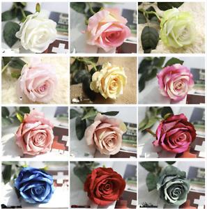 10 Heads Silk Rose Artificial Flowers Fake Bouquet Wedding Home Party Decor UK