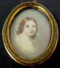Miniatur Portrait eines Mädchens, Gouache um 1870