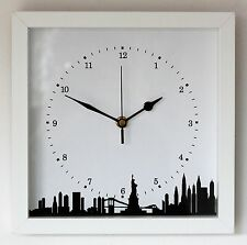 NEW 25cm New York Skyline Wall Clock - Modern Silhouette White Cityscape Gift