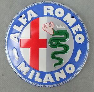 Vintage ALFA ROMEO MILANO Serpent and Cross Metal ROUND SIGN Logo AUTO