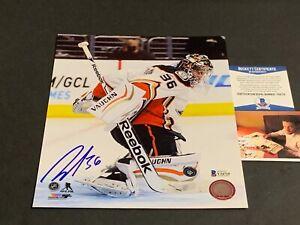 John Gibson Anaheim Ducks Autographed Signed 8x10 Beckett COA .