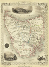 Tasmania, a map by Tallis 1851 - an enlarged reproduction